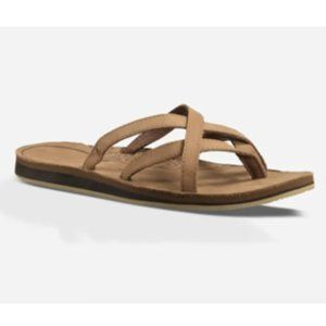 TEVA Olowahu Leather Sandal Strappy Brown FlipFlop